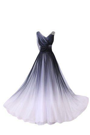 Gorgeous Bride Elegant Lang V-Ausschnitte A-Linie Chiffon Abendkleider Festkleid Ballkleid -56 Mehrfarbig C
