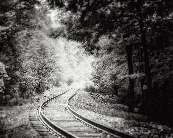 Black And White Landscape Print Or Canvas Art, Train