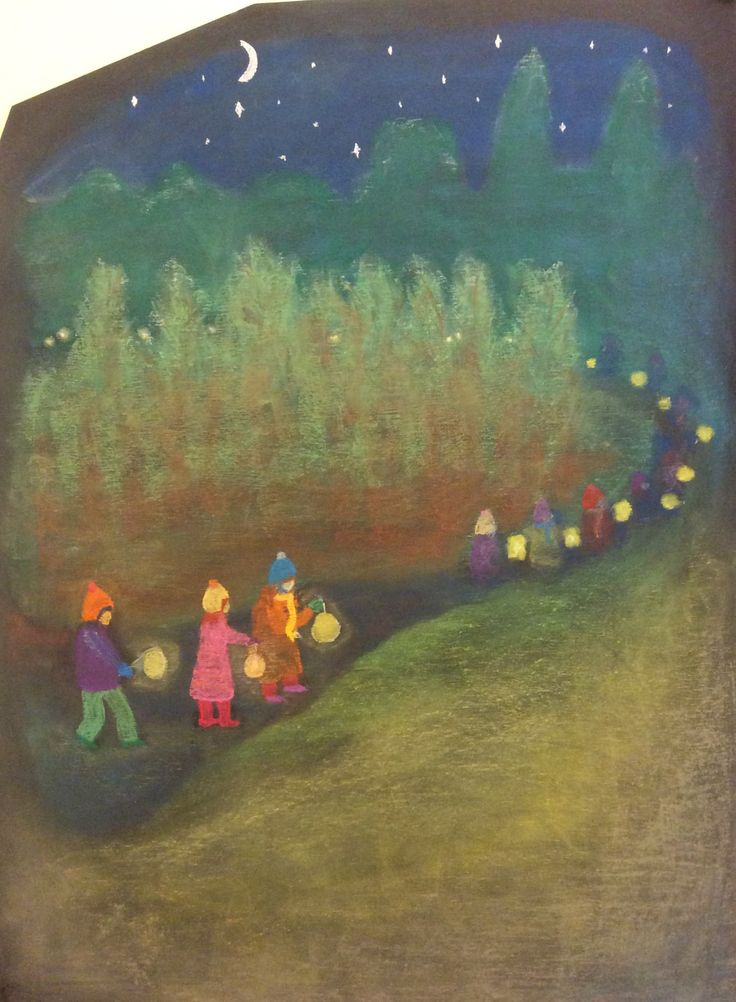 Lantern walk blackboard drawing