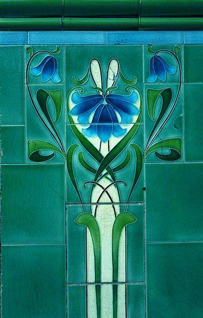 Art Nouveau turquoise tiles