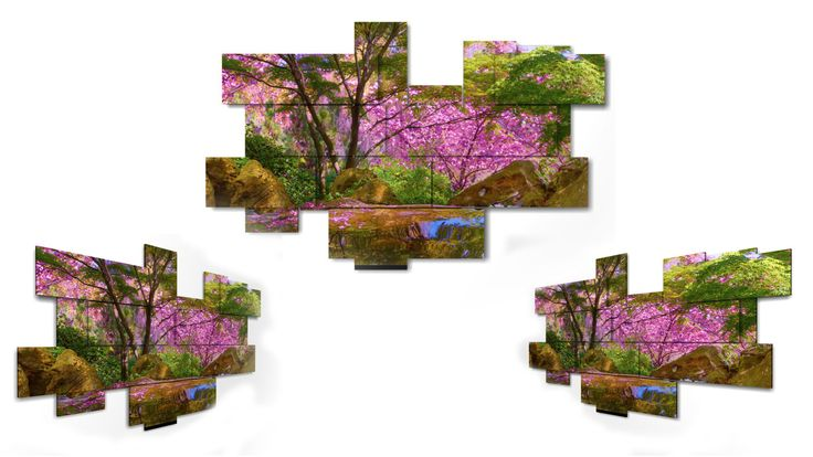 """GOOD SPRING! """"I wish the wind blew every day  in your hair,  even from far away to hear your scent! I would like to treat you like what  the spring does with cherry trees"""". (Pablo Neruda)  15 pieces wall art - 218x146 cm"""