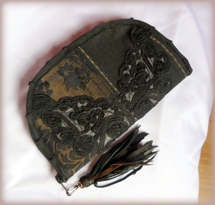 Handmade by Judy Majoros - Black fringe wallet-clutch with corded decoration, and leather fringe. Recycled wallet-bag.