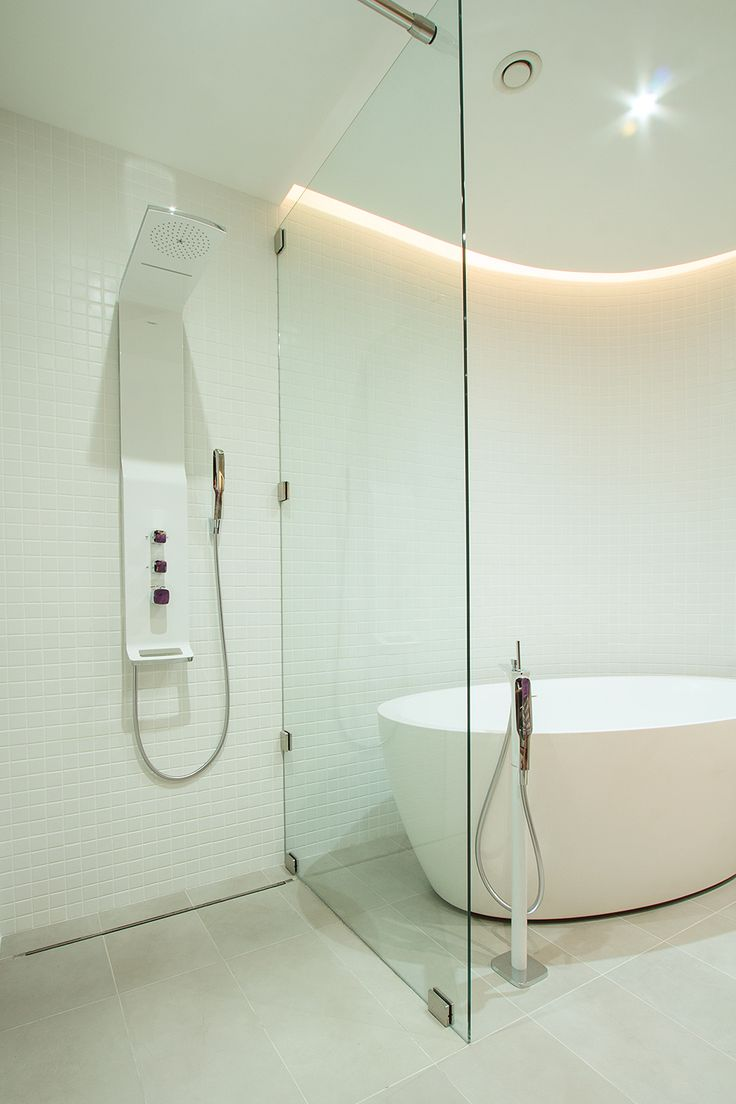 Clean Bathroom Interior from Modern Studio Apartment Designed Among Floor To Ceiling Glass Divider Between Shower Also Tub