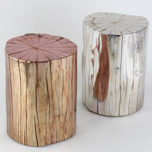 I love these metallic wood stump stools from design lush - gorgeous!
