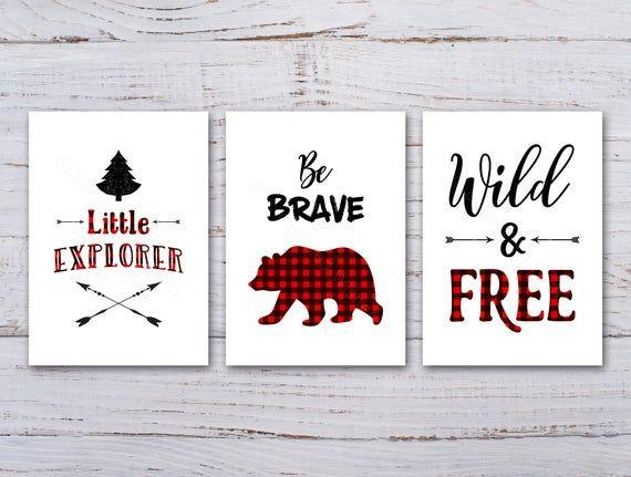 Buffalo Plaid Nursery Print Set Of 3 Lumberjack Nursery Etsy In 2020 Buffalo Plaid Nursery Plaid Nursery Nursery Wall Art Quotes