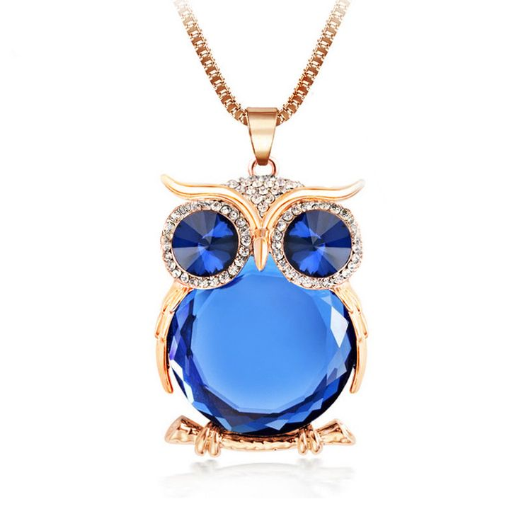 8 Colors Trendy Owl Necklace Fashion Rhinestone Crystal Jewelry Statement Women Necklace Silver Chain Long Necklaces & Pendants Dressional #dressional