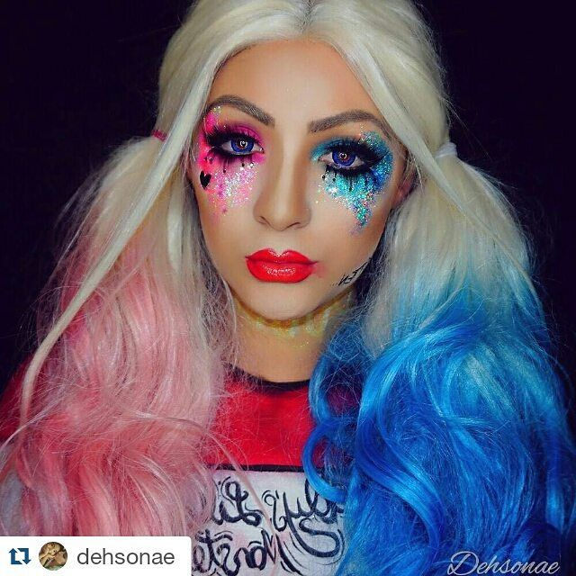 #Repost @dehsonae with @repostapp  Harley Quinn   Thank-you for all the love on my video! If you haven't seen it definitely go check it out! Love you guys! Product details:  @makeupforeverofficial ultra HD foundation in R330 shadows in ME-930 I-918 Artist Plexi-Gloss in 400 and lashes in C-801 @sugarpill shadow in dollipop loose pigment in decora and lashes in heiress. @sigma_pro blush in Modesty and liquid liner in line ace  @fxcosplay_ FAB paints in white watermelon red black white clown…