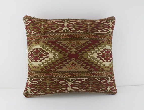 Red Cushion Cover 14X16 Sage Kilim Couch Pillow Red Throw