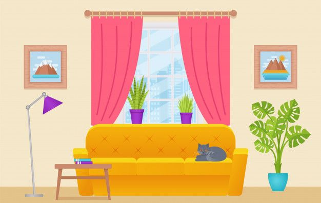 Living Room Interior Lounge With Furniture Window Cat Home