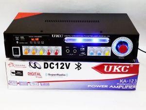 Усилитель звука UKC KA-123 BT 2*150 + КАРАОКЕ http://kupika.profit117.ru/i3793517-usilitel-zvuka-ukc-ka-123-bt-2150-karaoke.html  Стерео усилитель UKC KA-123BT Karaoke – интегральный усилитель со встроенным медиаплеером и FM тюнером, с поддержкой USB флешек и карт памяти SD, с Karaoke.Усилитель обеспечивает выходную мощность по 60 Вт на каждый из каналов, при равномерной частотной характеристике в диапазоне 10 Гц – 20 000 Гц. UKC KA-123 – работает от сети 220V или от адаптера 12V 5-10A, в…