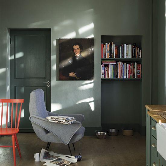 Walls Castle Gray Modern Emulsion. Walls Green Smoke Estate Eggshell by F&B.