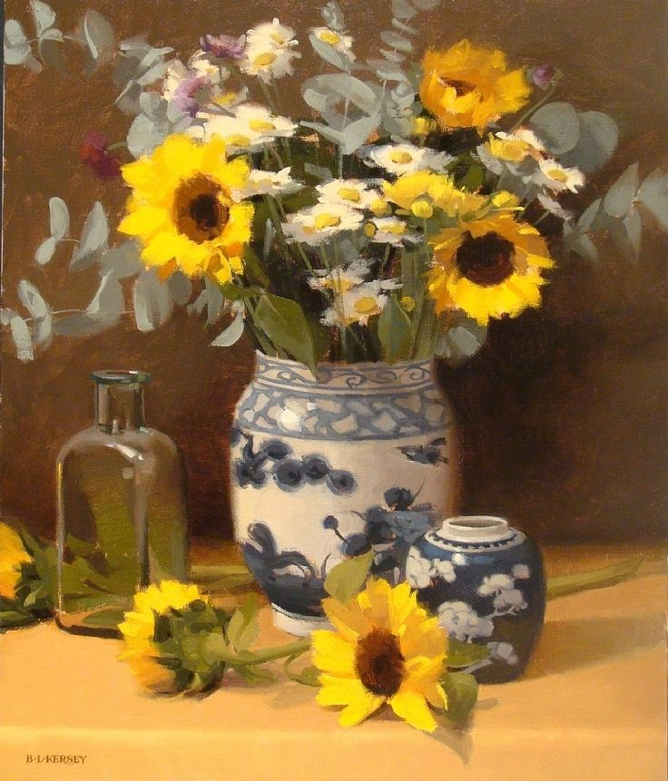 Fresh Sunflowers by Laurie Kersey Oil ~ 24 x 20