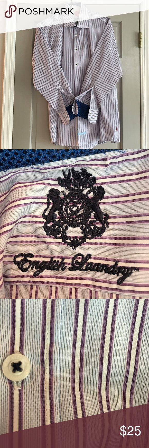 English Laundry dress shirt size 16 32/33 Light blue with purple and white stripes English Laundry Shirts Dress Shirts