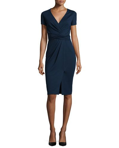 B353C Jason Wu Short-Sleeve Ponte Wrap-Front Dress, Dusk