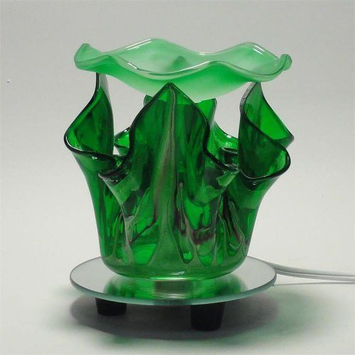 Melted Marble Design Glass Tart or Oil Warmer - Green . $20.51