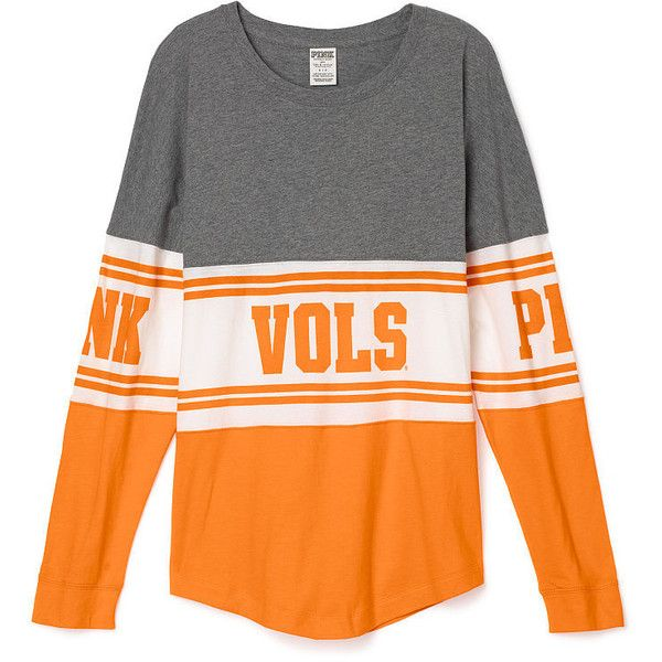 PINK University of Tennessee Varsity Crew ($65) ❤ liked on Polyvore featuring tops, white, oversized t shirt, slouchy tee, white top, graphic t shirts and white tee