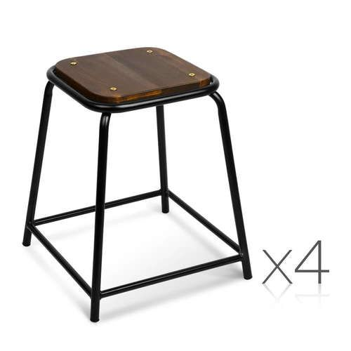 Set of 4 Stackable Wooden Seat Stools
