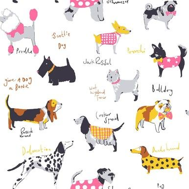 Coloroll Multi Pug Dalmation Spaniel Terrier Dog Wallpaper by Crown Wallcoverings M1037: Details and purchase options from Lancashire Wallpaper and Paint - Tap the pin for the most adorable pawtastic fur baby apparel! You'll love the dog clothes and cat clothes! <3
