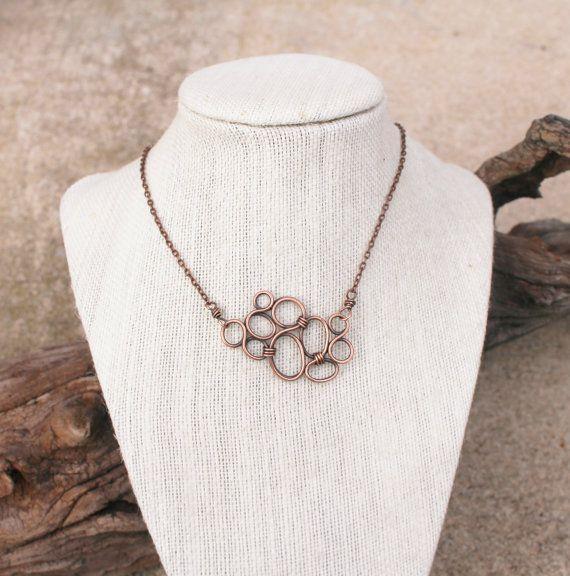 Mini Bubble Necklace Oxidized Copper by Karismabykarajewelry