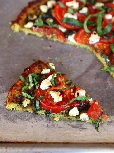 Tomato Pesto Tart with Basil, Goat Cheese and Cauliflower Crust