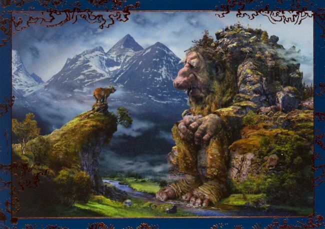 one of Ivar Rødningen's wonderful troll paintings, with the Rondane massif in the background