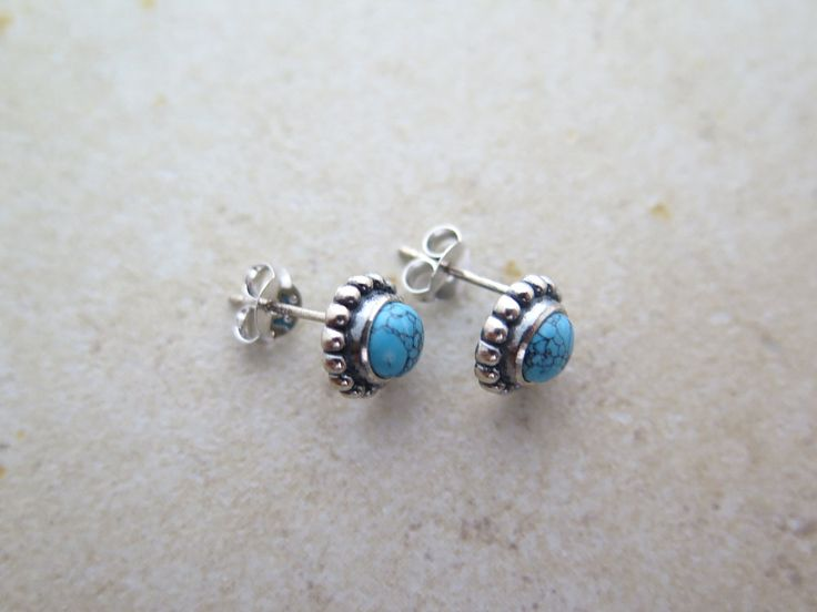 Silver Turquoise earring / Turquoise earring / Sterling silver TQ earring / Gemstone earring / Boho earring / Antique earring/Turquoise post by MinimalBijoux on Etsy
