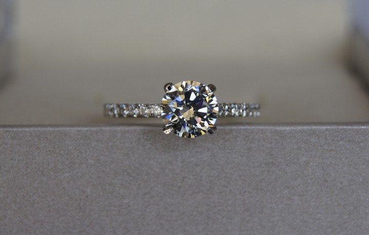 1 carat moissanite diamond pavé-set ring / engagement ring / wedding ring