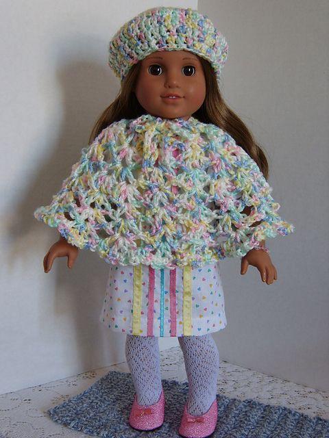 Crochet Poncho Pattern For 18 Inch Doll : Free crochet pattern for a American Girl Doll Hat & Poncho ...