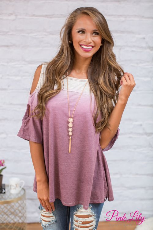 This comfortable ombre top is perfect for ladies who are always on the go - and chic enough to help you stay cute all summer long! Featuring an ombre print with dark magenta and oatmeal, these neutral colors are perfect to pair with denim capris or jeggings!