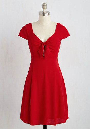 When your options for a romantic outing are abundant, you instinctively sport this red dress. Perfect for an evening movie, chatting over cocktails, or an intimate walk through the park, this flirty frock's knotted bust and crepe fabric will have you dressed for anything the evening holds!