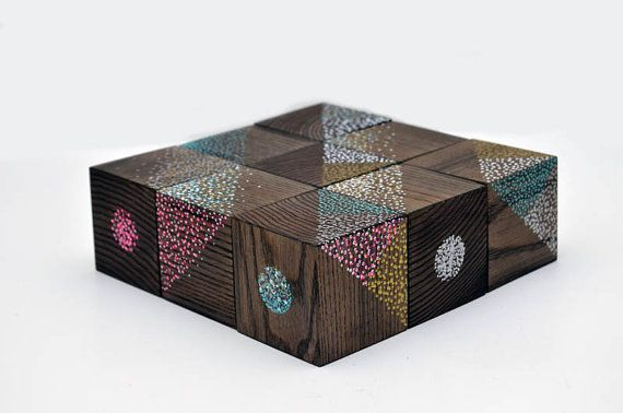 NEW++Free+shipping++Wooden+blocks+set+++Hand+painted++by+Lapalai