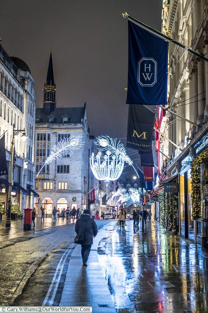 Looking along New Bond Street, Christmas, London, England, UK