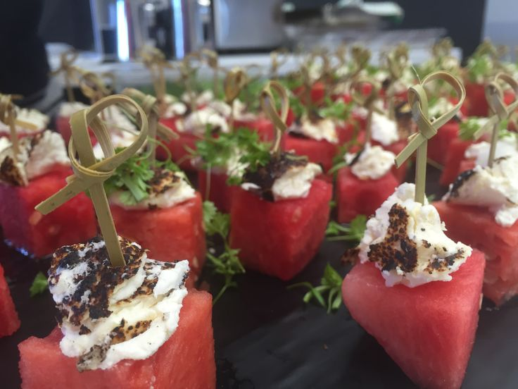 Chilled watermelon with torched goats cheese & apple balsamic reduction (V/GF)
