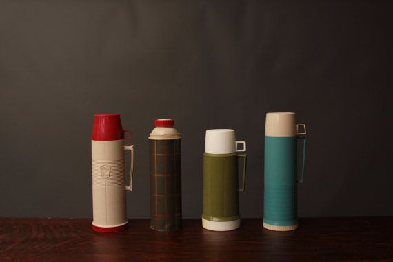 Vintage Thermos - for hot or cold liquid or soup - Red, Green, Blue, Cream
