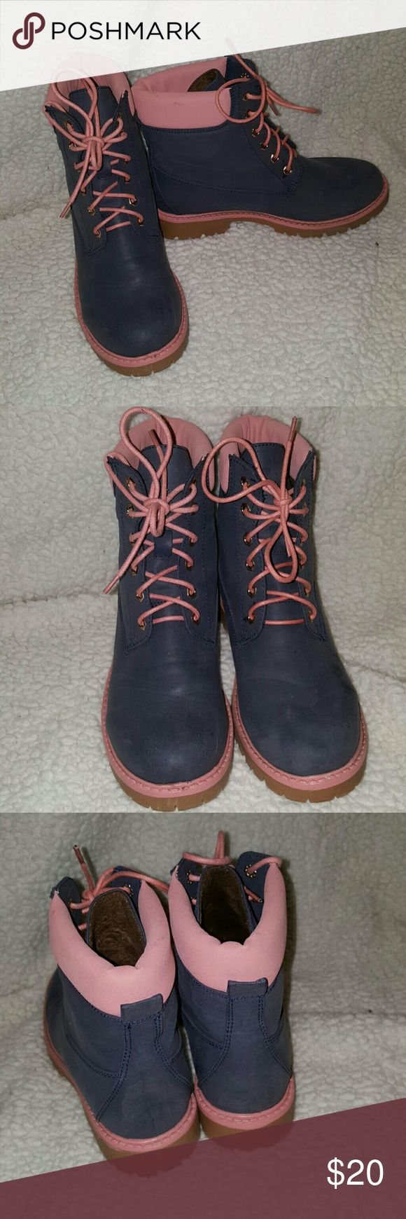Wannabe Timberland Boots Baby Pink & Navy Blue. Very Comfortable. Only worn once. Brand new condition. BellaMarie Shoes Combat & Moto Boots