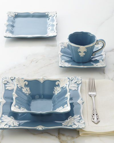 -64JF   12-Piece Blue Square Baroque Dinnerware Service Blue Square Baroque Cups & Saucers, Set of 4