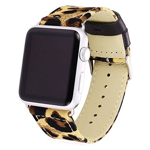 Apple Watch Band, Bandmax Stainless Steel Metal Clasp Buckle Comfortable Denim Fabric Replacement Strap for Apple Watch All Models(Leopard Pattern 38MM)