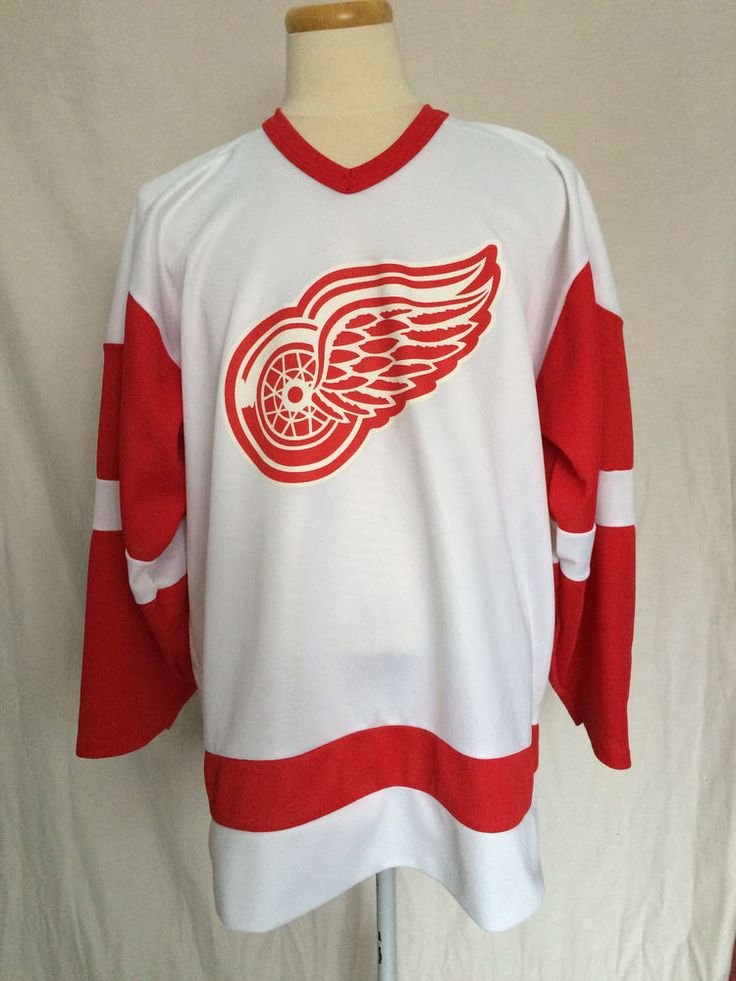 Detroit Red Wings CCM Jersey Sz XL White Red Hockey NHL Polyester #CCM #DetroitRedWings
