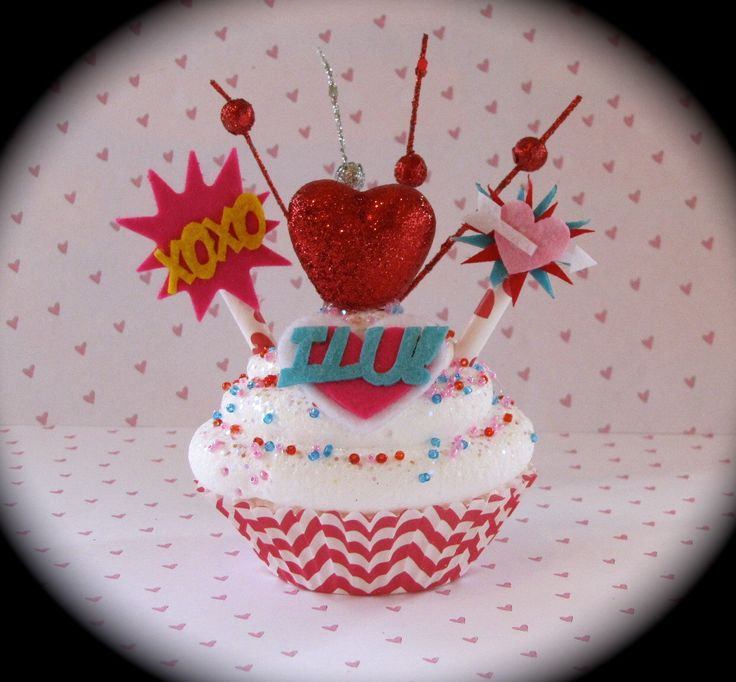 "Fake Cupcake Comic Book/ Super Hero Inspired ""I Luv U Cupcake"" w/ Red/White Chevron Cupcake Liner Fab V-Day Gift Comic Book Valentine Decor by 12LegsCuriosities on Etsy https://www.etsy.com/listing/122109341/fake-cupcake-comic-book-super-hero"