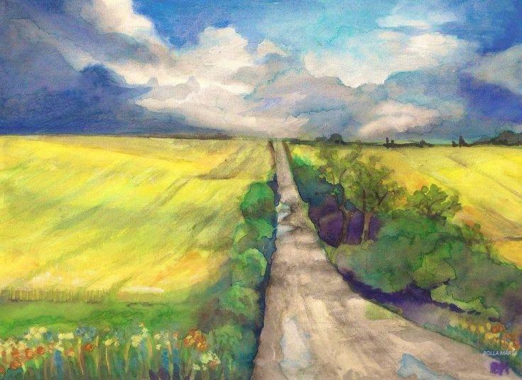 Corn-field - Búzatábla - Aquarelle - 21 x 29 cm - By Márta Bolla - Hungary