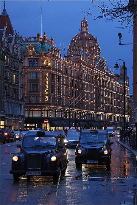 Harrods, London - department store for the wealthy. Enjoy your afternoon tea in one of their restaurants