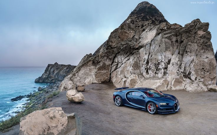 Skały, Kamienie, Morze, Bugatti Chiron