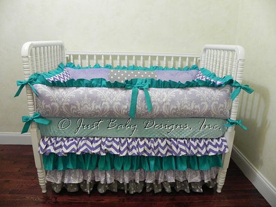 Custom Baby Bedding Set Opal - Girl Baby Bedding, Teal Baby Bedding, Purple Crib Bedding, Ruffle Skirt