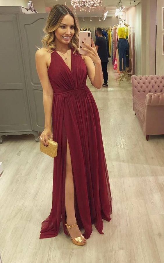 3121f7375b54c Simple Sexy V Neck Halter Chiffon Prom Dress With Slit Long Woman's Evening  Dress in 2019 | Sexy Prom Dress | Prom dresses, Bridesmaid dresses, Formal  ...