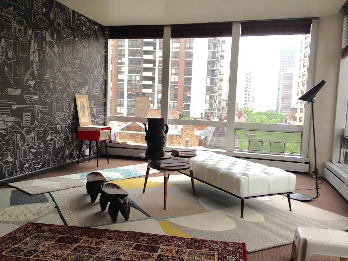 Atang Tshikare's Construct Black wallpaper was selected for an apartment in one of Chicago's most iconic residential buildings called Astor Towers.