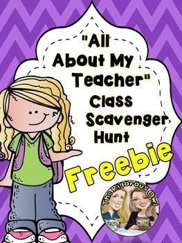 This is a wonderful FREEBIE to use on Back to School Night, Meet the Teacher Night, or on the first day of school. The students are given an All About the Teacher Handout to fill out. The students follow clues to a certain location that has a poster about their teacher such as their favorite drink, book, etc...and a clue to the next location.