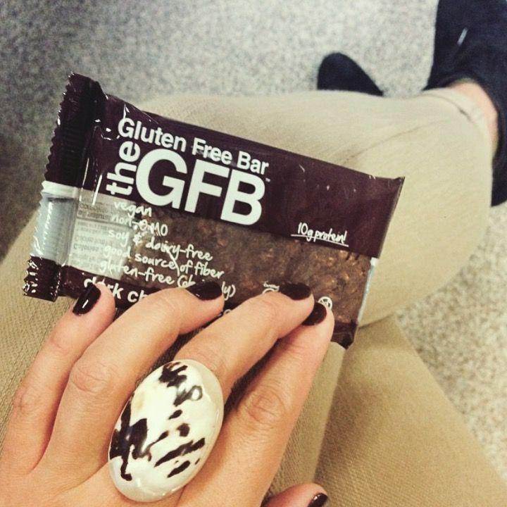 Enjoying a Dark Chocolate Coconut GFB Bar. Gluten-Free, Soy-Free, Dairy-Free, Vegan, Non-GMO, Protein, Kosher, MMM