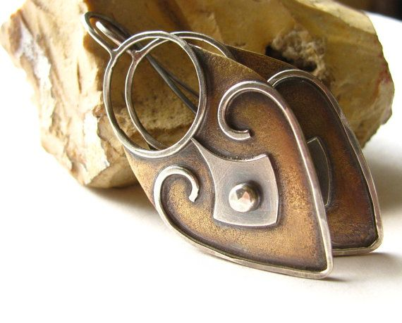 Mixed Metal Earrings  Argentium Sterling Silver And by Mocahete, $118.00