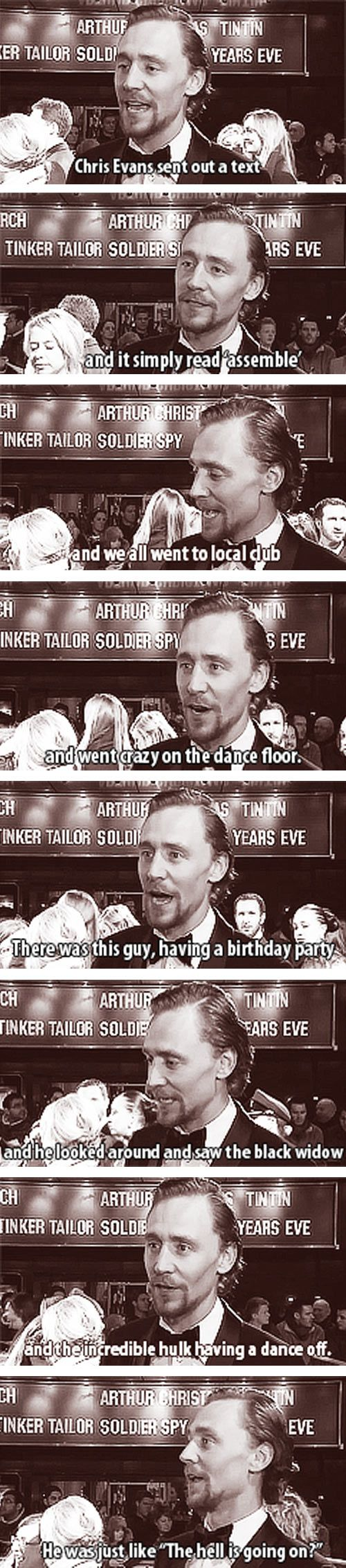 SOUNDS LIKE THE BEST BIRTHDAY EVER!! Funny Tom Hiddleston: When Avengers assemble!
