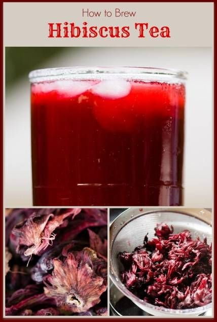 Hibiscus Tea - Brewed at Home From Dried Hibiscus Flowers - don't throw out the flowers after brewing. Save them to make candied flowers.